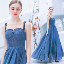 Dress / evening wear Wedding, adulthood, party, company annual meeting, performance XXL,XXXL,XS,S,M,L,XL blue sexy longuette middle-waisted Autumn 2020 Self cultivation One shoulder Deep V style Stretch satin 18-25 years old Sleeveless Nail bead Angel wedding dress 96% and above Pearl
