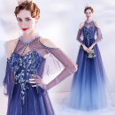 Dress / evening wear Wedding, adulthood, party, company annual meeting, performance XXL,XXXL,XS,S,M,L,XL blue fashion longuette middle-waisted Spring 2021 Self cultivation One shoulder Bandage Netting 18-25 years old Sleeveless Nail bead Angel wedding dress 96% and above Crystal tube