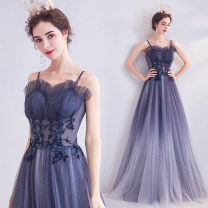 Dress / evening wear Wedding, adulthood, party, company annual meeting, performance XXL,XXXL,XS,S,M,L,XL Gradient purple fashion longuette middle-waisted Autumn 2020 Fall to the ground Sling type Bandage Netting 18-25 years old Sleeveless Embroidery Angel wedding dress 96% and above Hand embroidery