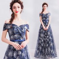 Dress / evening wear Wedding, adulthood, party, company annual meeting, performance XXL,XXXL,XS,S,M,L,XL indigo grace longuette middle-waisted Autumn 2020 Self cultivation One shoulder Bandage Netting 18-25 years old Sleeveless Embroidery Angel wedding dress 96% and above Hand embroidery