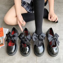 Low top shoes 35,36,37,38,39 Other / other Black (matte), black (shiny), black (matte bow), black (shiny bow) Round head PU Muffin bottom Middle heel (3-5cm) Shallow mouth PU Summer 2020 Flat buckle solar system Adhesive shoes Youth (18-40 years old) Solid color plastic cement Single shoes bow PU