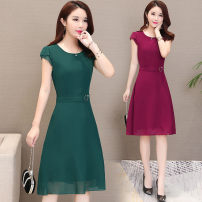Dress Summer 2021 Black, Burgundy, green, blue, navy M,L,XL,2XL,3XL,4XL Mid length dress singleton  Short sleeve commute Crew neck middle-waisted Solid color zipper Big swing Petal sleeve 35-39 years old Korean version Lace up, tridimensional decoration, zipper 91% (inclusive) - 95% (inclusive)