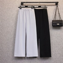 Women's large Summer 2021 Black, blue grey Large L, large XL, 2XL, 3XL, 4XL trousers singleton  commute easy Solid color Korean version Three dimensional cutting Beauty trends 25-29 years old pocket 91% (inclusive) - 95% (inclusive) Ninth pants