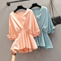 Women's large Summer 2021 sky blue , Orange pink Large L, large XL, 2XL, 3XL, 4XL shirt singleton  commute easy moderate Socket Solid color Korean version V-neck routine Three dimensional cutting routine HS20X3887-1 Beauty trends 25-29 years old 96% and above