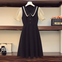 Women's large Summer 2021 black Large L, large XL, 2XL, 3XL, 4XL Dress singleton  commute easy moderate Socket Short sleeve Solid color Korean version Double collar Three dimensional cutting routine Beauty trends 25-29 years old Button 96% and above Medium length