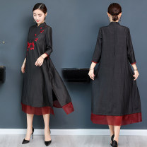 Dress Spring 2021 black M,L,XL,2XL,3XL Mid length dress singleton  three quarter sleeve commute stand collar Loose waist Solid color zipper A-line skirt routine Others Type A Retro Embroidery, stitching, zipper More than 95% polyester fiber