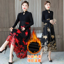 Dress Winter 2020 Red clouds, yellow clouds M,L,XL,2XL,3XL Mid length dress singleton  Long sleeves commute stand collar High waist Decor A button A-line skirt routine Others Type A Retro Hollowed out, embroidered, stitched, button, mesh 1562-5 clouds More than 95% polyester fiber