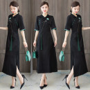 Dress Summer 2020 black L,XL,2XL,3XL,4XL Mid length dress singleton  elbow sleeve commute V-neck middle-waisted Solid color Three buttons A-line skirt routine Others Type A Retro Tassel, embroidery, button, zipper, jacquard More than 95% polyester fiber