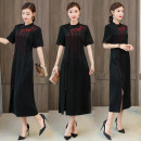 Dress Summer 2020 black L,XL,2XL,3XL,4XL Mid length dress singleton  Short sleeve commute stand collar middle-waisted Solid color A button A-line skirt routine Others Type A Retro Embroidery, asymmetry, button More than 95% polyester fiber