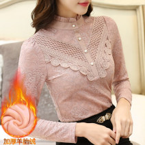 Lace / Chiffon Winter of 2018 S,M,L,XL,XXL Long sleeves commute Socket singleton  Self cultivation stand collar Solid color routine 30-34 years old Stitching, flower binding, three-dimensional decoration, buttons Korean version 81% (inclusive) - 90% (inclusive) nylon