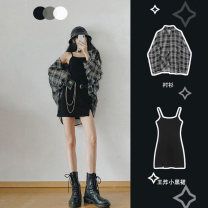 Women's large Summer 2021 Plaid shirt, black suspender skirt, plaid shirt + black suspender skirt S,M,L,XL,2XL,3XL,4XL Other oversize styles Two piece set commute easy moderate Socket Long sleeves Plaid, solid Korean version Crew neck Medium length cotton routine 6619# 18-24 years old Medium length