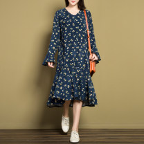 Dress Autumn of 2018 Navy Blue S,M,L Mid length dress singleton  Long sleeves commute V-neck middle-waisted Decor Socket Irregular skirt pagoda sleeve Others 25-29 years old Type A lady More than 95% corduroy cotton