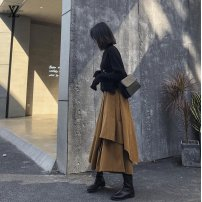 skirt Spring 2021 XS,S,M,L,XL,XXL Black, Khaki Mid length dress commute High waist Irregular Solid color Type A 18-24 years old 91% (inclusive) - 95% (inclusive) polyester fiber Retro