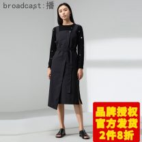 Dress Spring of 2019 K40 black XS,S,M,L,XL Mid length dress singleton  Sleeveless commute square neck Loose waist Solid color Socket One pace skirt 18-24 years old Type H Broadcast / broadcast literature BDM1LD354 31% (inclusive) - 50% (inclusive) polyester fiber