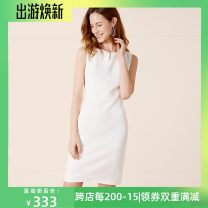 Dress Summer of 2018 white S,M,L,XL Middle-skirt Sleeveless commute High waist Pencil skirt 25-29 years old Type X Reflection YS18214N