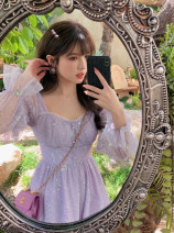 Dress Spring 2021 Peach powder, fairy purple, gem green, peach powder (short), fairy purple (short), gem green (short) XS,S,M,L 18-24 years old Q0855