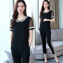 Women's large Summer of 2019 T-shirt Two piece set commute Self cultivation moderate Socket Short sleeve Shape, solid color Korean version V-neck routine Collage routine Other / other 25-29 years old pocket Cropped Trousers Lotus leaf edge