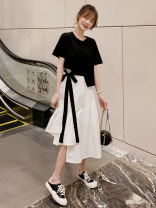Fashion suit Summer 2021 S,M,L,XL Black T-shirt + white skirt 18-25 years old 2006E40 96% and above