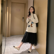 suit happymaman Milky white, black M. L, XL, one size fits all Korean version Long sleeve + skirt winter thickening