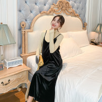 suit happymaman Top + velvet suspender skirt, light yellow top, black velvet suspender skirt M,L,XL Korean version Long sleeve + skirt spring and autumn routine