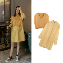 suit happymaman Yellow (VEST), yellow (skirt) M. L, XL, one size fits all Korean version Short sleeve + skirt spring and autumn routine other