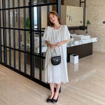 Dress happymaman White, blue Average size Korean version Short sleeve Medium length summer Crew neck