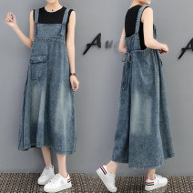 Dress . blue Average size Korean version Sleeveless have more cash than can be accounted for summer cowboy