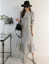 Dress Winter of 2019 Black, light grey S,M,L longuette singleton  Long sleeves commute Crew neck Loose waist Solid color Socket Ruffle Skirt routine Type H Korean version fold 81% (inclusive) - 90% (inclusive) knitting cotton