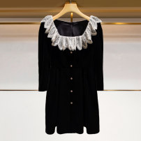 Dress Winter 2020 black S [4], m [6], l [8], XL [10] Short skirt singleton  Nine point sleeve commute square neck High waist Solid color Socket A-line skirt routine 25-29 years old Type A Zhuoya Ivy lady Stitching, zipper, lace M16B2401