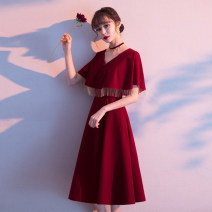 Dress / evening wear Weddings, adulthood parties, company annual meetings, daily appointments S M L XL XXL XXXL claret Korean version Medium length middle-waisted Winter 2020 A-line skirt Deep collar V zipper 18-25 years old elbow sleeve Solid color routine Other 100% Pure e-commerce (online only)
