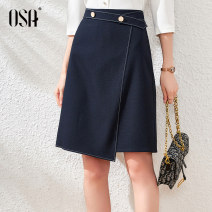 skirt Spring 2021 L,XL,XXL,S,M dark blue commute High waist Irregular Solid color Type A 25-29 years old S120QC51004 OSA polyester fiber Button Ol style