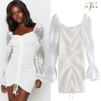 Dress Spring 2021 white S,M,L Short skirt singleton  Long sleeves street square neck High waist Solid color Socket other pagoda sleeve Type H Pleating, embroidery, lace, stitching, lace Q3 polyester fiber Europe and America
