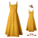 Dress Summer of 2018 yellow S,M,L,XL Mid length dress singleton  Sweet High waist Single breasted Princess Dress camisole 18-24 years old Type A polyester fiber