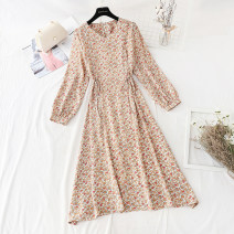 Dress Spring 2021 Green, apricot, black, pink S,M,L,XL longuette singleton  Long sleeves commute V-neck Loose waist Broken flowers A button Big swing routine Type A Retro Bowknot, lace, strap, button, print Chiffon