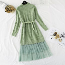 Dress Spring 2021 S,M,L,XL Mid length dress Two piece set Long sleeves commute Crew neck High waist Solid color Socket Ruffle Skirt routine Type A Korean version knitting