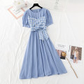 Dress Spring 2021 Purple, blue, pink S,M,L,XL longuette Fake two pieces Short sleeve commute Crew neck Elastic waist lattice A button Big swing puff sleeve Type A Korean version Bowknot, fold, lace, stitching, three-dimensional decoration, bandage, button, printing More than 95%
