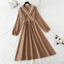 Dress Spring 2021 S,M,L,XL longuette singleton  Long sleeves commute V-neck Elastic waist Solid color Socket Big swing routine Type A Korean version