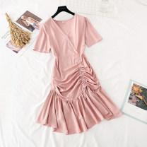 Dress Spring 2021 S,M,L Mid length dress singleton  Short sleeve commute V-neck High waist Solid color zipper Ruffle Skirt routine Type A Korean version