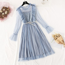Dress Spring 2021 Blue, green, apricot, black, pink S,M,L,XL longuette Two piece set Long sleeves Sweet Lotus leaf collar Elastic waist Solid color Socket Pleated skirt pagoda sleeve camisole Type A More than 95% Lace princess