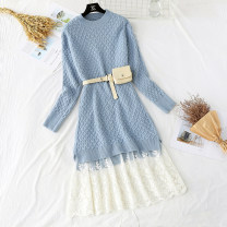 Dress Spring 2021 S,M,L,XL longuette Two piece set Long sleeves commute Crew neck High waist Solid color Socket Ruffle Skirt routine Type A Korean version knitting