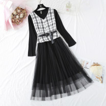 Dress Spring 2021 Black, white S,M,L,XL longuette Two piece set Long sleeves commute Crew neck High waist lattice Three buttons Big swing routine Type A Korean version Lace, diamond, button, mesh Lace