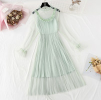Dress Spring 2021 Green, apricot, blue, black, pink S,M,L,XL longuette Two piece set Long sleeves commute Lotus leaf collar Elastic waist Solid color A button Pleated skirt pagoda sleeve camisole Type A lady Lace