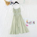 Dress Spring 2021 S,M,L Mid length dress Two piece set Short sleeve commute Crew neck Elastic waist Solid color Socket A-line skirt puff sleeve camisole Type A Korean version Pleats, folds, zippers More than 95% cotton