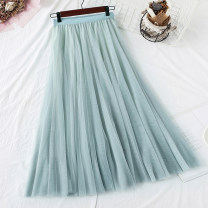 skirt Spring 2021 Average size Black, blue, dark coffee, dark grey, apricot card, pink longuette commute Natural waist Fairy Dress Solid color Type A Lace Pleat, web Korean version