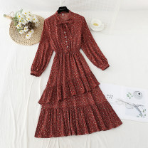 Dress Spring 2021 Red, apricot, black S,M,L,XL longuette singleton  Long sleeves commute V-neck Elastic waist Broken flowers Socket A-line skirt routine 18-24 years old Type A Bowknot, ruffle, fold, Auricularia auricula, lace, bandage, button, printing Chiffon polyester fiber