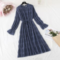 Dress Spring 2021 Blue, apricot, black S,M,L,XL longuette singleton  Long sleeves commute Lotus leaf collar Loose waist Solid color A button Ruffle Skirt pagoda sleeve Type H Korean version Bowknot, flounce, tuck, fold, lace, bandage More than 95% Chiffon