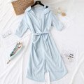 Dress Spring 2021 Light blue Average size Mid length dress singleton  three quarter sleeve commute Polo collar Loose waist Solid color Socket Irregular skirt routine Oblique shoulder Type H Korean version Bowknot, hollow out, fold, lace, three-dimensional decoration, asymmetry, bandage