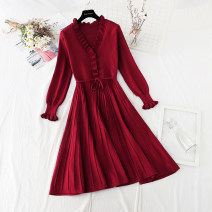 Dress Spring 2021 Red, black S,M,L,XL longuette singleton  Long sleeves commute V-neck High waist Solid color Socket Big swing Lotus leaf sleeve Type A Korean version Bowknot, flounce, Auricularia auricula, lace, stitching, bandage knitting