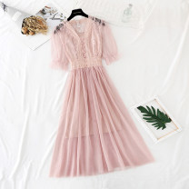Dress Spring 2021 Apricot, black, pink, haze grey S,M,L,XL longuette Two piece set Short sleeve commute V-neck High waist Solid color Socket Big swing puff sleeve Type A Korean version Lotus, embroidery, Auricularia auricula, Gouhua, hollow out, stitching, buttons, mesh, lace Lace
