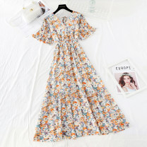 Dress Spring 2021 S,M,L,XL,2XL,3XL longuette singleton  Short sleeve commute V-neck Elastic waist Broken flowers Socket Big swing Lotus leaf sleeve Type A Korean version Bowknot, ruffle, pleat, lace, bandage, printing More than 95% Chiffon